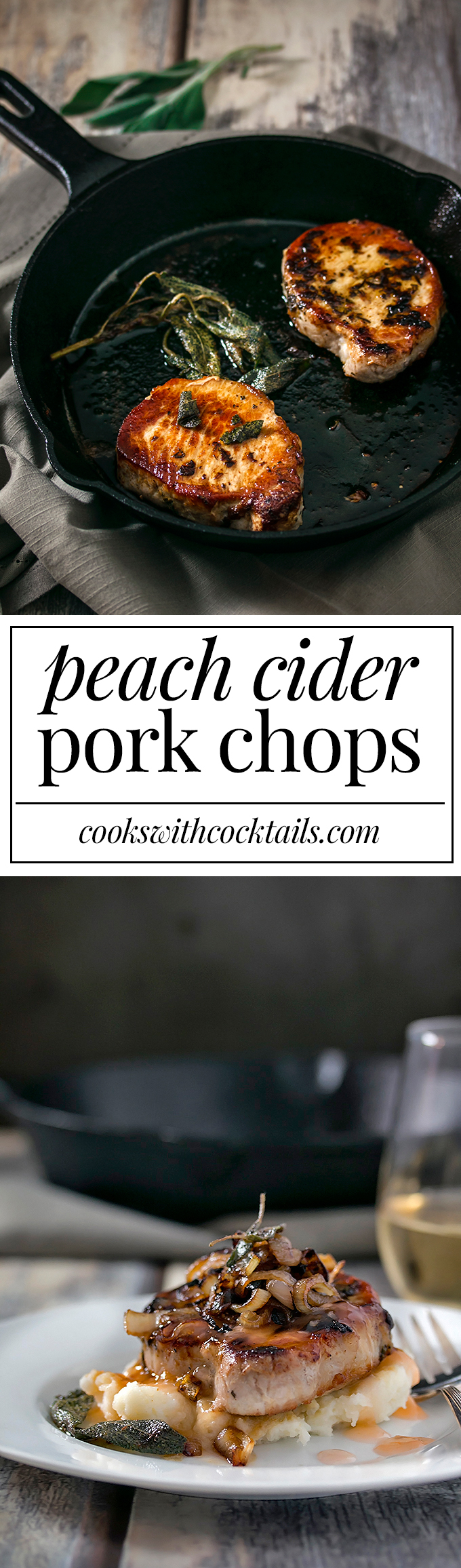Peach cider, in a sauce form, drizzled all over marinated rosemary pork chops and topped with caramelized onions.