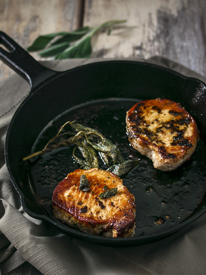 Sage and Rosemary Pork Chops with Peach Cider Sauce (2)